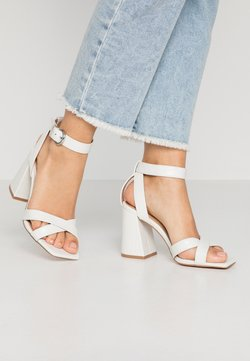 Topshop - SACHA BLOCK ANKLE TIE - Sandalen met hoge hak - white