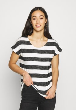 Vero Moda - VMWIDE STRIPE TOP  - T-Shirt print - snow white/black