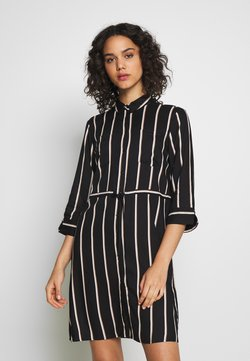 ONLY - ONLTAMARI DRESS - Blusenkleid - black/white/camel stripe