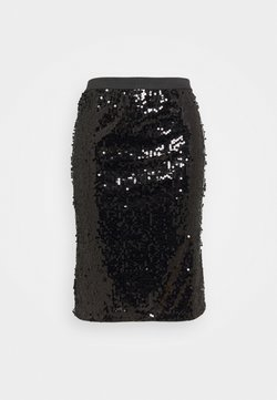CAPSULE by Simply Be - VALUE SEQUIN SKIRT - Kynähame - black