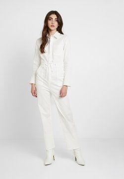 Honey Punch - LONG SLEEVE BOILERSUIT WITH BUTTON FRONT AND SELF TIE BELT - Combinaison - white