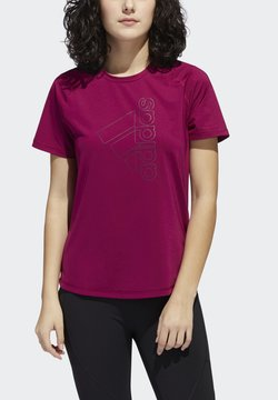adidas Performance - TECH BOS TEE - T-Shirt print - berry
