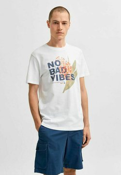 Selected Homme - STATEMENT - T-Shirt print - bright white