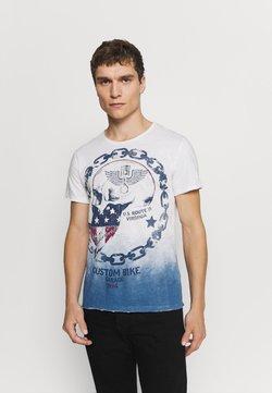 Key Largo - LUCKY ROUND - T-shirt print - off-white/blue