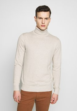 Jack & Jones - JJEEMIL ROLL NECK - Strickpullover - oatmeal melange
