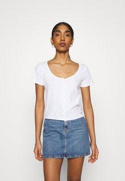Hollister Co. - BUTTON THROUGH - Print T-shirt - white