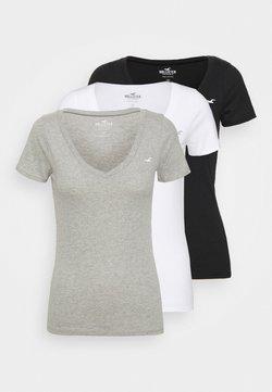 Hollister Co. - ICON MULTI 3 PACK - T-Shirt basic - white/black/light grey