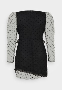 Missguided Plus - DOBBY MILKMAID FRILL MINI DRESS - Freizeitkleid - black