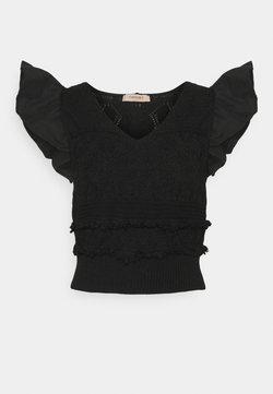 TWINSET - MAGLIA  SCOLLO V  - Camiseta estampada - nero