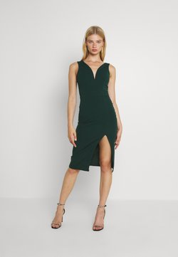 WAL G. - V NECK PLUNGE MIDI DRESS - Vestito di maglina - forest green