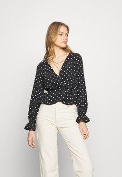Miss Selfridge - BASE POLKA WRAP - Bluse - black