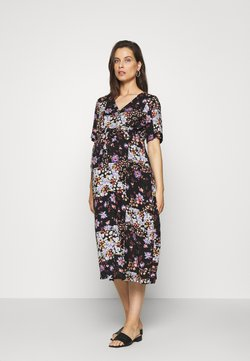 Pieces Maternity - PCMBECCA MIDI DRESS - Vestido informal - black/purple