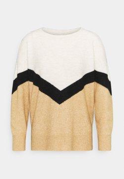 Vero Moda Petite - VMGINGOBLOCK ONECK - Jersey de punto - tan/black/birch