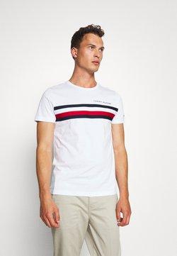 Tommy Hilfiger - GLOBAL STRIPE TEE - Print T-shirt - white