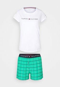 Tommy Hilfiger - ORIGINAL SHORT PRINT - Nachtwäsche Set - white/emerald