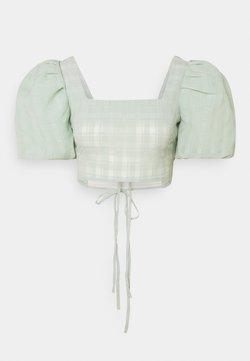 Missguided - PUFF SLEEVE TIE BACK DETAIL CROP - T-Shirt print - sage