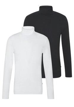 Pier One - 2 PACK - Langærmede T-shirts - white/black
