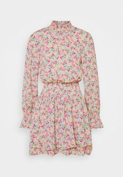 Missguided Tall - FLORAL HIGH NECK SHIRRED MINI DRESS - Day dress - multi