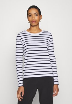 Selected Femme - SLFSTANDARD NEW TEE - Langarmshirt - maritime blue/bright white