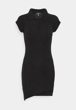 Missguided Petite - POLO COLLAR T-SHIRT DRESS - Vestido ligero - black