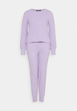 Missguided Tall - TEXTURED JUMPER AND JOGGER SET - Strickpullover - lilac