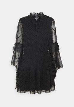 Missguided - KEYHOLE FLUTTER SMOCK DRESS DOBBY - Cocktailkleid/festliches Kleid - black