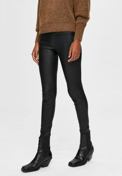 Selected Femme - Pantalon en cuir - black