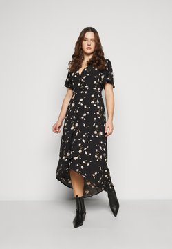 Missguided Plus - FLORAL WRAP MIDI DRESS - Freizeitkleid - black