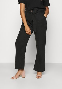 CAPSULE by Simply Be - SOFT WIDE LEG PANT - Pantalon classique - washed black