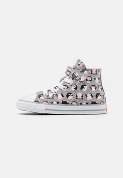 Converse - CHUCK TAYLOR ALL STAR PENGUIN - Sneakersy wysokie - ash stone/bright coral/white