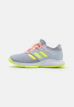 adidas Performance - COURT TEAM BOUNCE INDOOR SHOES - Indoorskor - halo silver/hi-res yellow/halo blue