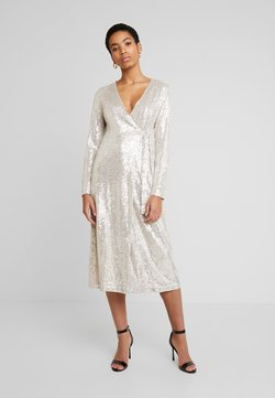 UNIQUE 21 - SEQUIN WRAP DRESS WITH BELT - Cocktail dress / Party dress - brushed silver