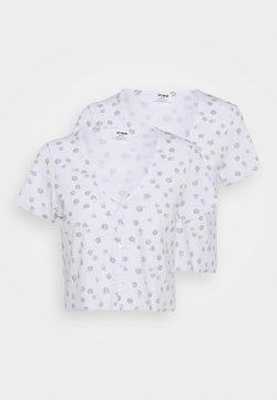 Cotton On - JANET BUTTON THROUGH SHORT SLEEVE 2 PACK - T-Shirt print - nola daisy white