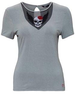 Queen Kerosin - MIT LACE-EINSATZ UND STICKER - T-shirt print - grau
