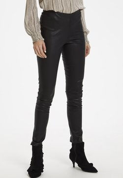 Culture - Leather trousers - black