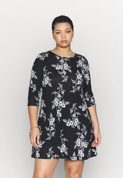CAPSULE by Simply Be - DIPPED HEM SWING DRESS - Jerseykleid - black/white