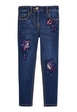 Next - SEQUIN EMBELLISHED - Jeansy Straight Leg - blue