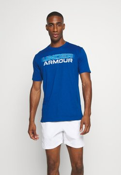Under Armour - BLURRY LOGO WORDMARK  - Printtipaita - graphite blue/electric blue