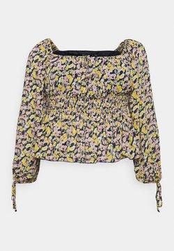 Missguided Plus - PLUS SIZE SHIRRED WAIST FLORAL TOP - Bluse - black