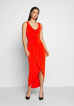 WAL G. - ROUND NECK PLEAT DEATIL MIDI DRESS - Cocktail dress / Party dress - red