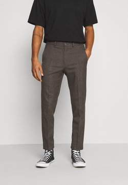 Isaac Dewhirst - CHECKFLAT FRONT TROUSER - Stoffhose - brown