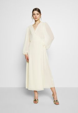 Glamorous - FLORAL LONG SLEEVE WRAP DRESS - Maxikjole - pale yellow