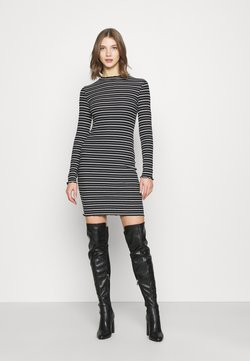Even&Odd - Rushed edges mini high neck long sleeves dress - Etuikleid - black/ white