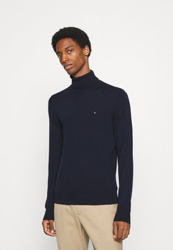 Tommy Hilfiger Tailored - FINE GAUGE LUXURY ROLL  - Pullover - desert sky