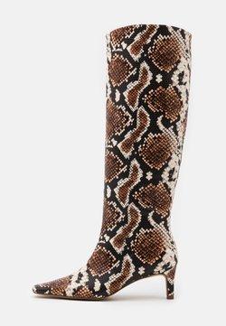 NA-KD - SQUARED LONG TOE SHAFT BOOTS - Støvler - brown/multicolor
