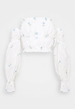 Missguided Tall - FLORAL BRODERIE BARDOT CROP  - Langarmshirt - white