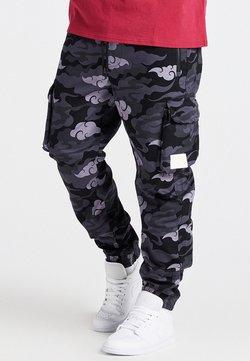 SIKSILK - CAMO AOKI PANT - Pantalones cargo - black/grey