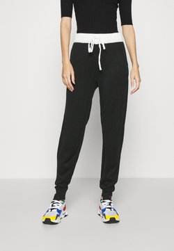 ONLY - ONLAUBREE LOOSE PANTS  - Jogginghose - black/white