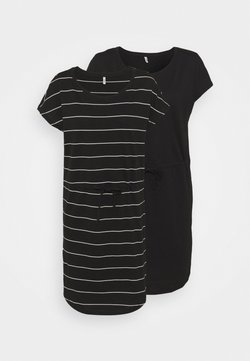 ONLY Tall - ONLMAY LIFE DRESS 2 PACK - Jerseykleid - black/thin stripe/black solid