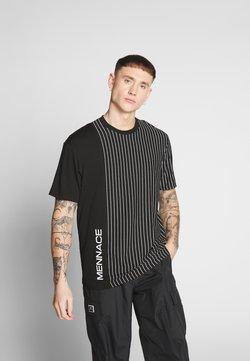Mennace - UNISEX VERTICAL STRIPE SIDE PRINT - Print T-shirt - black